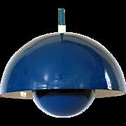3 Verner Panton Flowerpot Lamps by Louis Poulsen Original Boxes Blue Set of 3 Hanging Pendant Ceiling Lamp