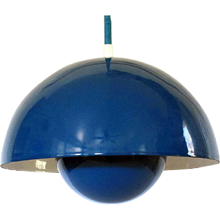 3 Verner Panton Flowerpot Lamps by Louis Poulsen Original Boxes Blue Set of 3 Hanging Pendant Ceiling Lamp