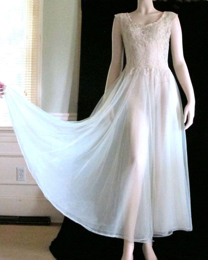 Vintage 1930\'s Seafoam Chiffon & Cream French Lace Gown Goddess ...