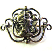 Antique Sterling Silver Art Nouveau Woman Pin Brooch