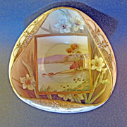 Nippon Hand Painted Scenic Floral Porcelain Bowl Gold Moriage