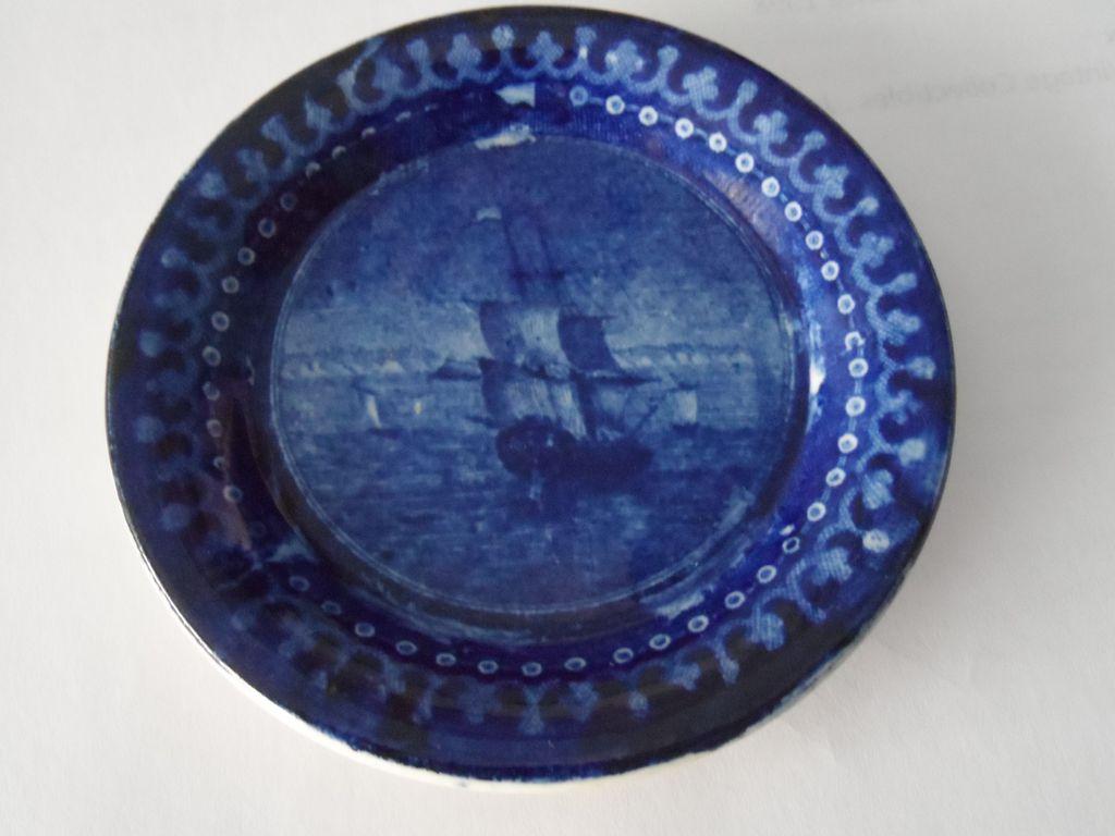 Dark Blue Staffordshire Toddy Plate