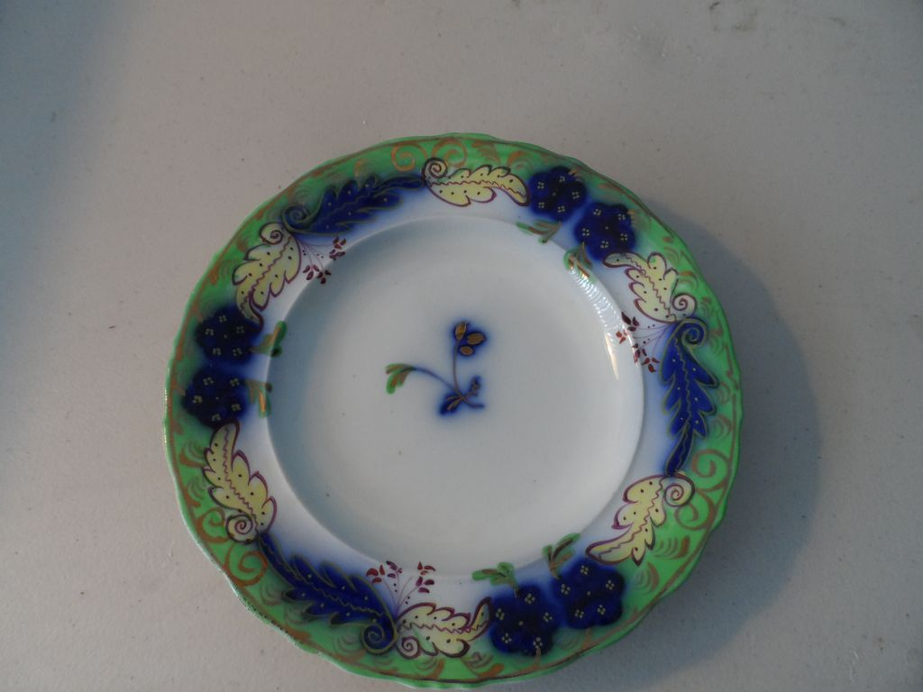 "Ground Green and Flow Blue 7"" Plates  (3)"