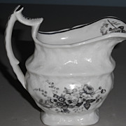 Transferware Black and White Pitcher