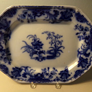 Flow Blue Platter in the Carlton Pattern