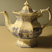 Transferware Teapot in Medium Blue