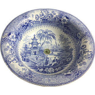 Transfer ware medium blue sink or bowl
