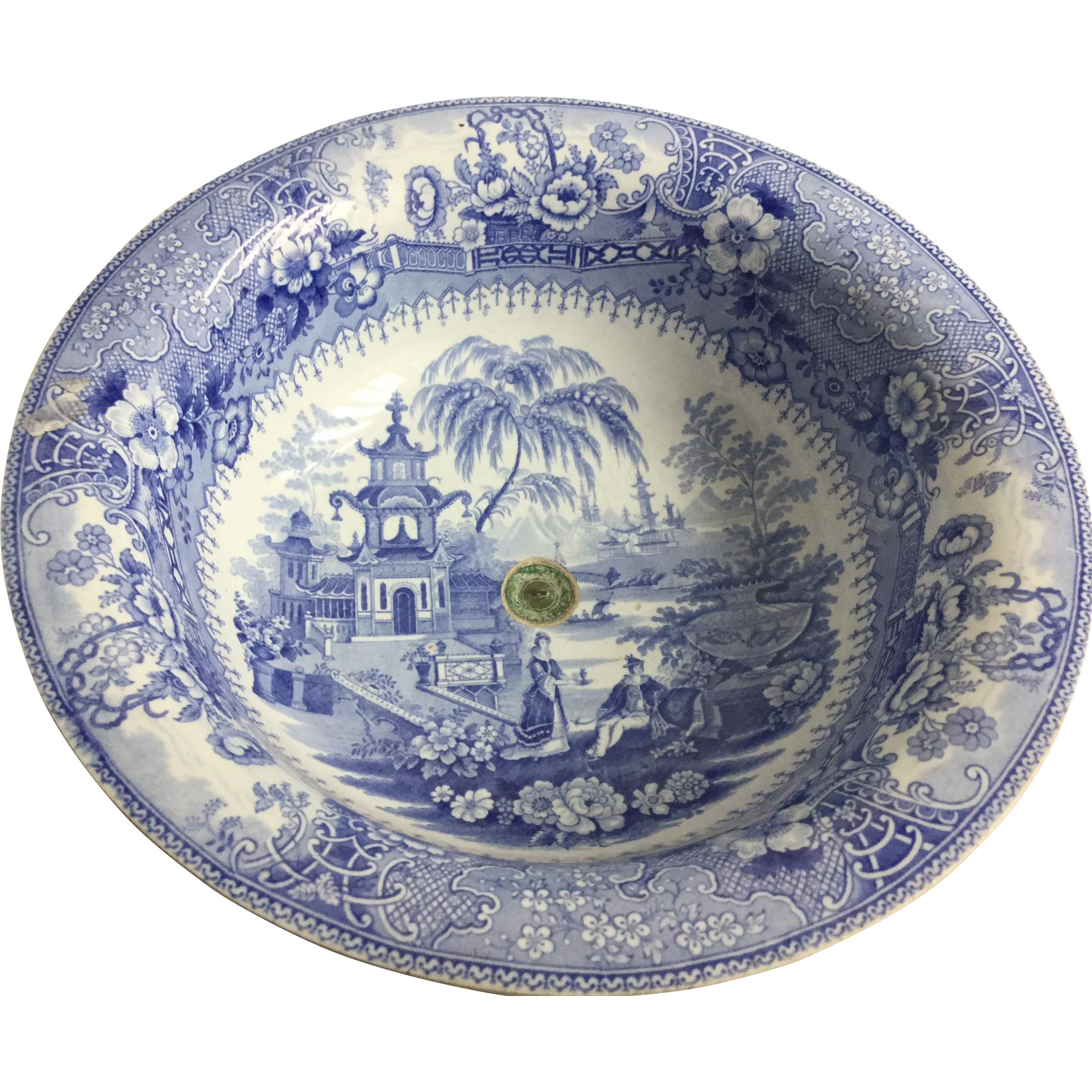 Transfer Ware Medium Blue Sink Or Bowl From Mbcantiques On