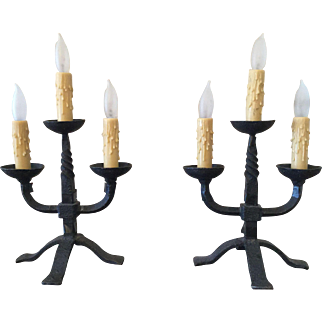 Art Nouveau Candleabra in black wrought iron