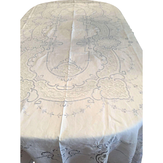 Tablecloth Vintage Italian Blue Embroidered with matching Napkins