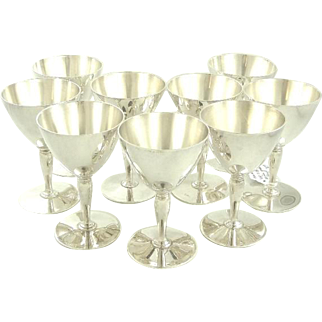 Tiffany Sterling Silver Martini Glasses Set of Ten