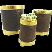 Tiffany & Co Metalwork Brass & Crocodile Desk Cups Set of Three Graduated in Size
