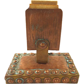 Antique Match Holder Arts & Crafts Period Copper and Wood