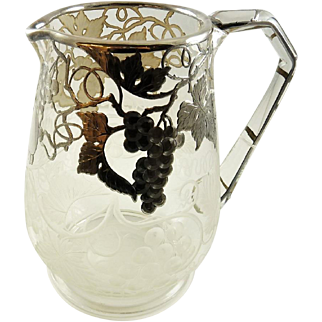 Silver Overlay Pitcher Feauturing Grapes & Vines