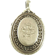 Antique English Sterling Silver Locket Birmingham Victorian Era  1881