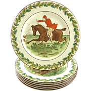 Wedgwood Plates with Hunt Theme Dessert Salad Sporting Life Set of Six
