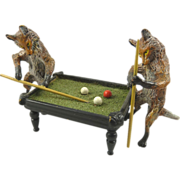 Austrian Cold Painted Bronze Figurine Two Foxes Playing Pool Billiards