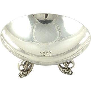 Tiffany Sterling Silver Bowl Dolphin Base