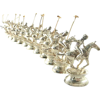 English Sterling Silver Place Card Holders Polo Players