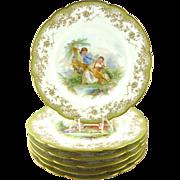 Set of Six Antique Chateau de Saint Cloud Porcelain Plates in the Sevres-style