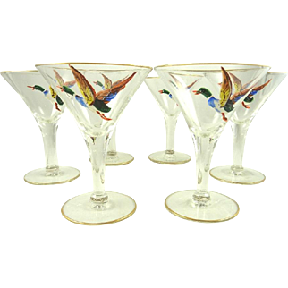 Mid Century Martini Cocktail Glasses Set of 6 Hand Painted Ducks