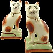 Antique Pair of Staffordshire Cat Figurines Sponge Painted