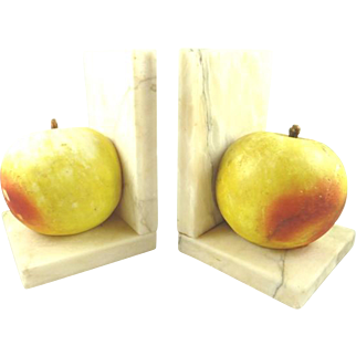 Vintage Pair of Bookends Alabaster Apples
