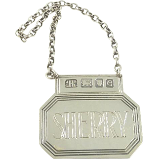 English Sterling Silver Wine Label Spirit Ticket for Sherry