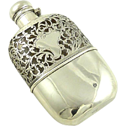Antique Sterling Silver Flask with Decorative Overlay by Alvin