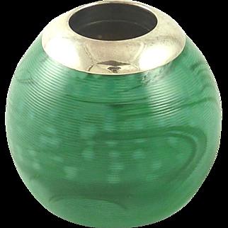Annabell Jones Match Striker Green Marbled Glass & Silver Plate