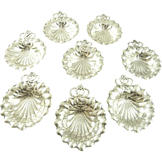 Sterling Silver Nut Dishes / Place Card Holders Set of Eight