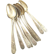 Antique Coin Silver S Kirk & Son Dessert Spoons Set of Twelve Mayflower Pattern