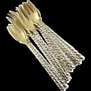 Antique Sterling Silver & Gilt Cocktail Forks Dominick Haff Set of Twelve