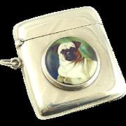 Antique English Sterling Silver Match Strike Vesta Case Hand Painted Enamel Pug