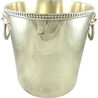 Antique French Silver Plate Champagne Bucket Wine Cooler by Ercuis