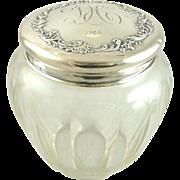 Antique Sterling Silver Crystal Dresser Jar by Howard