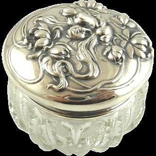 Antique Sterling Silver Dresser Jar  Art Nouveau William Kerr