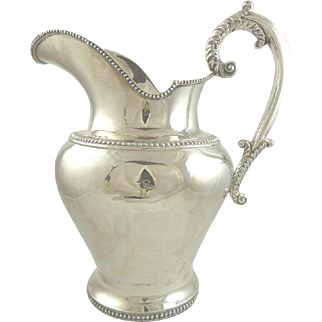 19th C American Coin Silver Water Pitcher or Jug B Gardiner New York