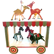Folk Art Circus Wagon with Seven Animals