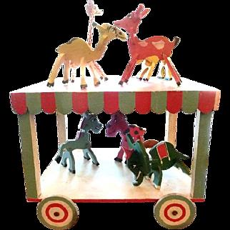 Folk Art Circus Wagon with Seven Animals