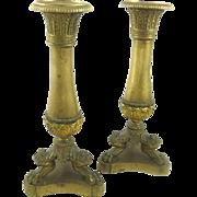 Antique Brass Candlesticks with Empire Motifs