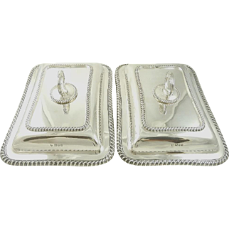 English Sterling Silver Pair of Serving Dishes with Lids George V London