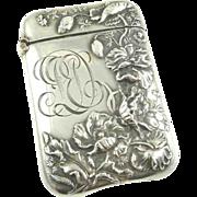 Antique Sterling Silver Match Safe Strike Vesta Case Art Nouveau Battin & Co
