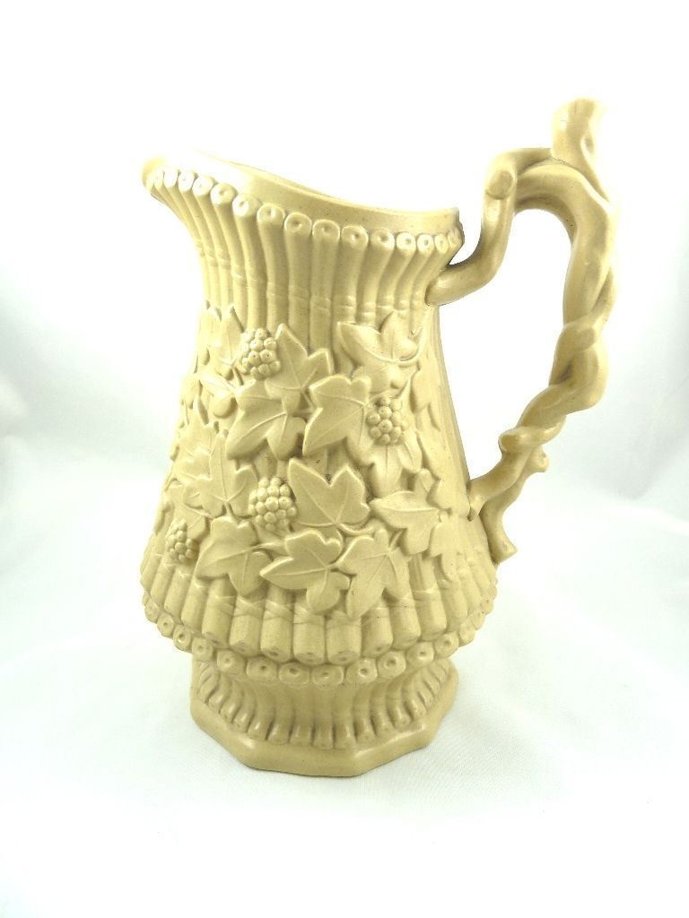 Antique Large Drabware Pitcher Ivy Leaf Amp Berry Motif From