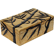 Vintage Chinese Carved Soapstone Box With Bamboo Motif