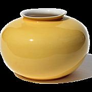 Chinese Middle Kingdon Porcelain Canary Yellow Vase Signed Bo Jia