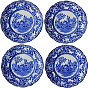 Set Of Four Antique Signed Colonial-Pottery Stoke England Blue And White Transferware Dinner Plates