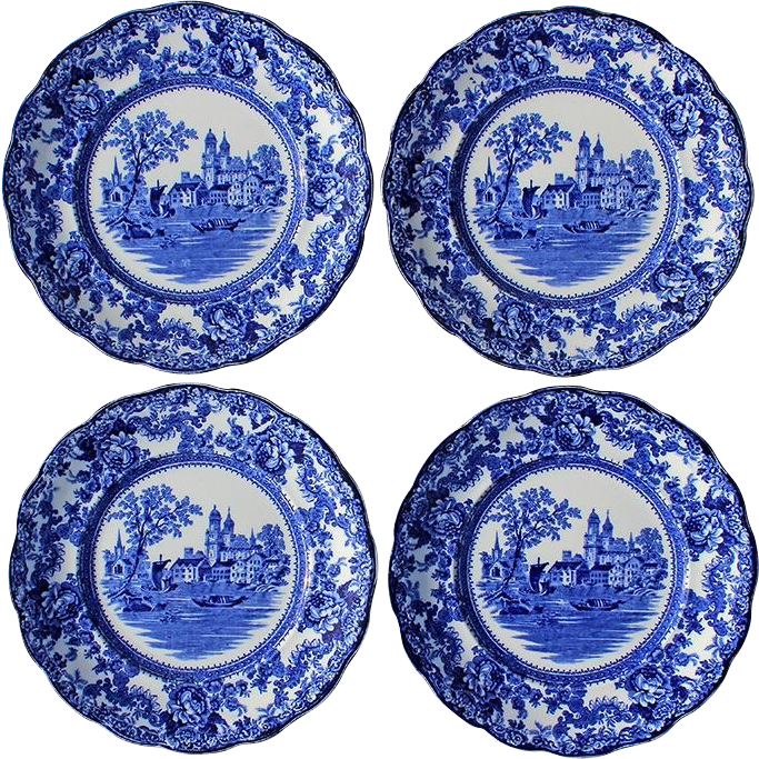 Set Of Four Antique Signed Colonial-Pottery Stoke England Blue And  Stephen A. Kramer Ltd. | Ruby Lane  sc 1 st  Ruby Lane & Set Of Four Antique Signed Colonial-Pottery Stoke England Blue And ...
