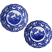 Pair Of Antique Signed Colonial-Pottery Stoke England Blue And White Transferware Lunch Plates