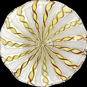Vintage Venetian Latticino Glass Pedistal Bowl